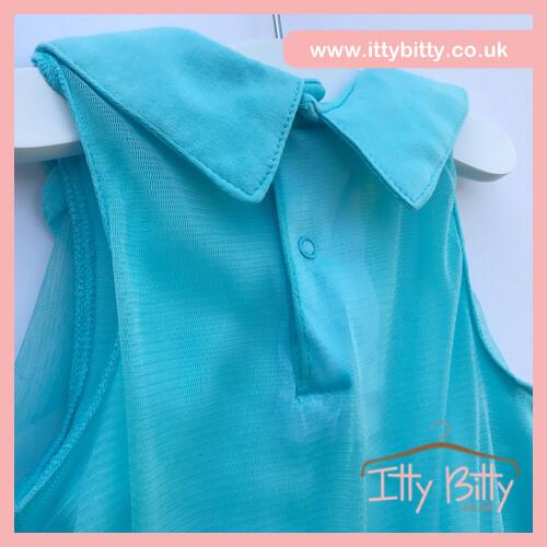 Itty Bitty 2017 Spring Aqua Collar Chiffon Flower Dress