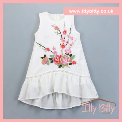 Itty Bitty White Embroidery Drip Hem Dress