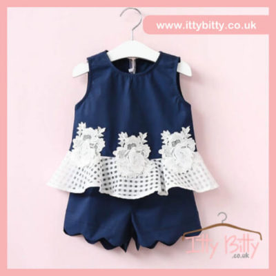 Itty bitty Lace detail peplum top & short set