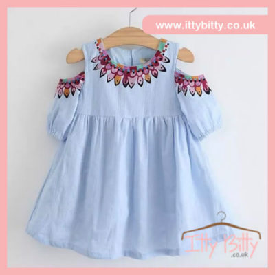 Itty Bitty Blue Cold Shoulder Dress