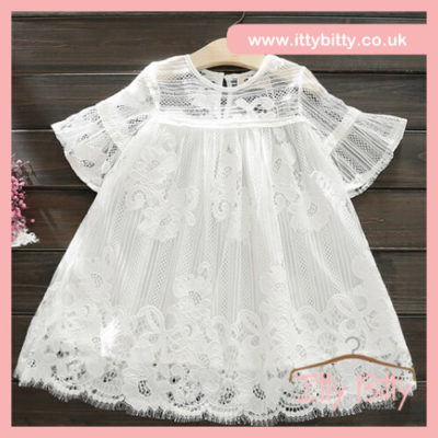 Itty Bitty White Lace Flare sleeve Dress