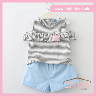Itty Bitty Stripe Cold Shoulder Short Set
