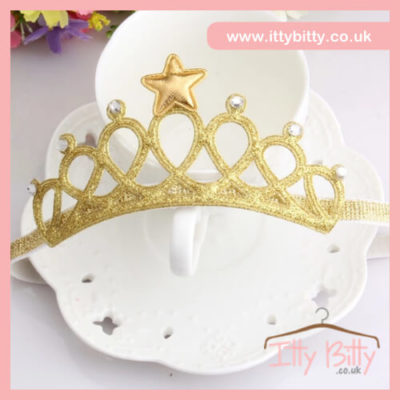 itty bitty gold tiara headband