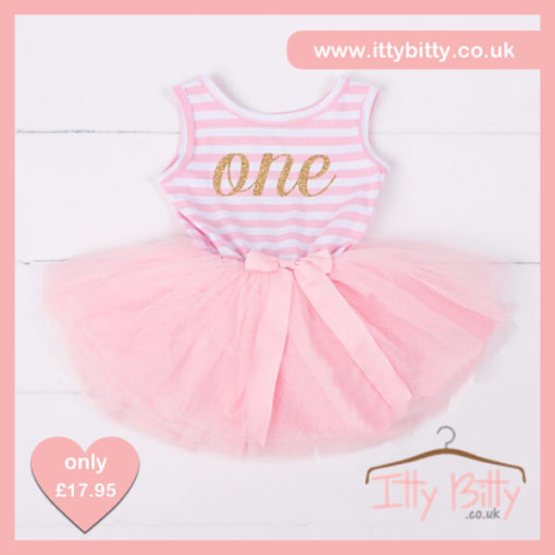 Itty Bitty Pink & White first Birthday Tutu Sleeveless Dress