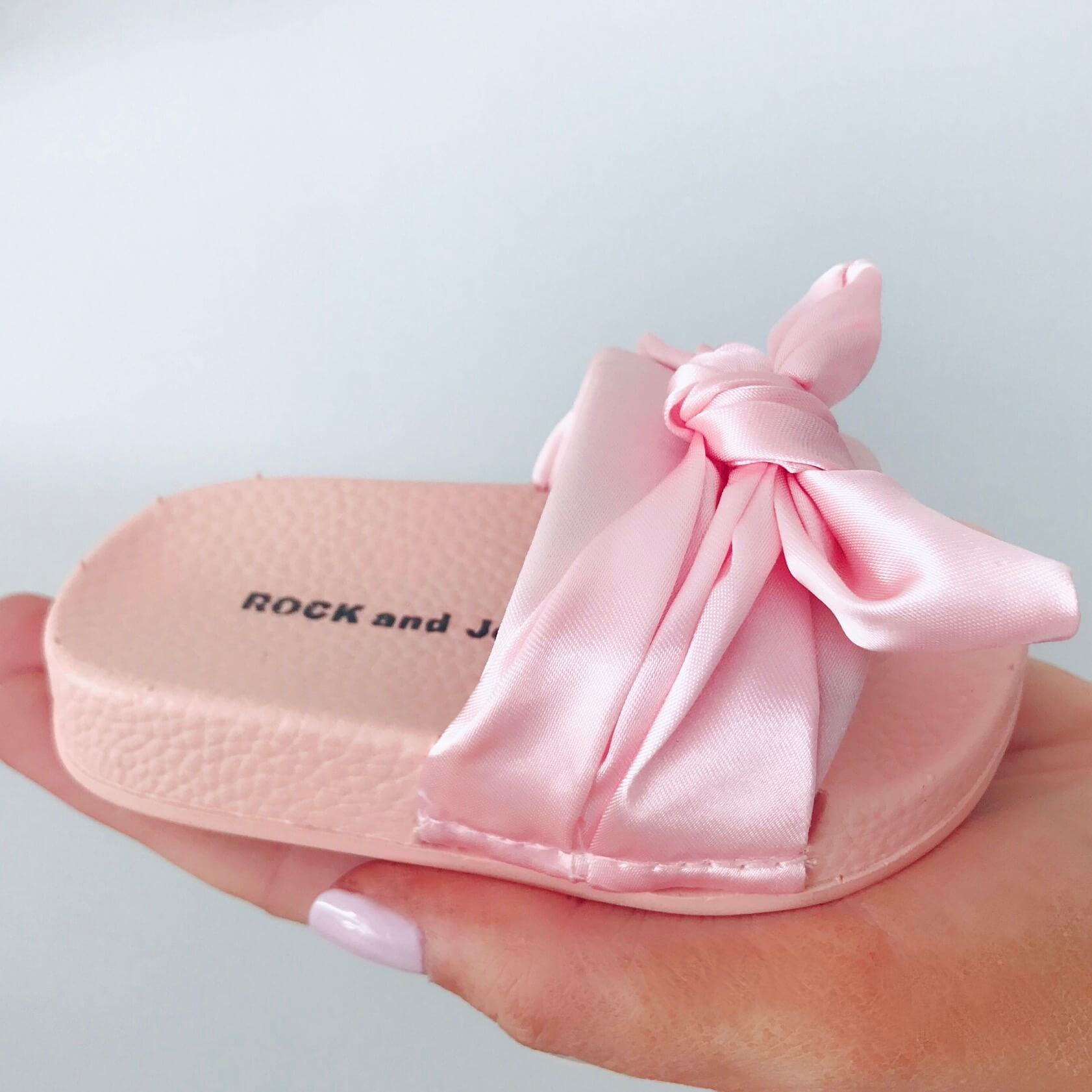 Itty Bitty Pink Satin Bow Sliders - Baby Boutique Shop