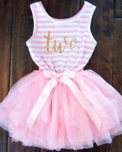Itty Bitty Pink & White Second Birthday Tutu Sleeveless Dress