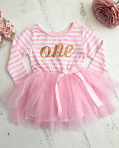 Itty Bitty Pink & White first Birthday Tutu Dress