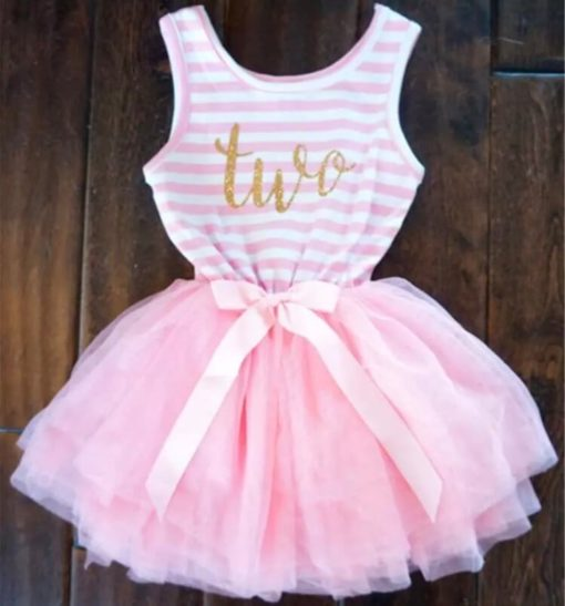 Itty Bitty Pink & White Second Birthday Tutu Sleeveless Dress
