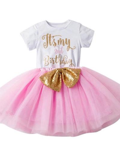 Itty Bitty 2nd Birthday Baby Pink Top & Tutu Set