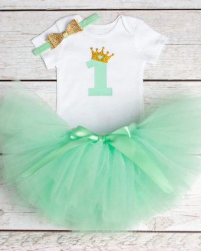 Itty Bitty Green 1st Birthday Crown Tutu Set