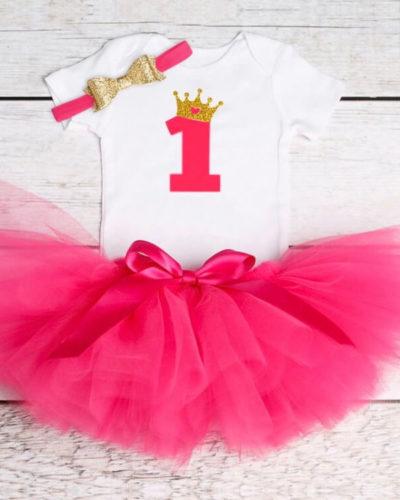 Itty Bitty Dark Pink 1st Birthday Crown Tutu Set