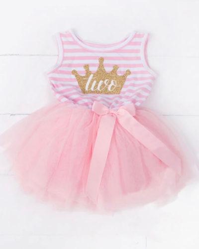 Itty Bitty Pink & White 2nd Birthday Crown Tutu Sleeveless Dress
