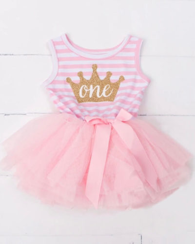 Itty Bitty Pink & White 1st Birthday Crown Tutu Sleeveless Dress