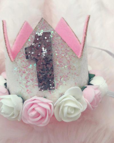Itty Bitty 1st Birthday White Flower Adorned Crown