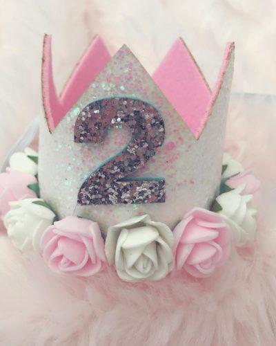Itty Bitty 2nd Birthday White Flower Adorned Crown