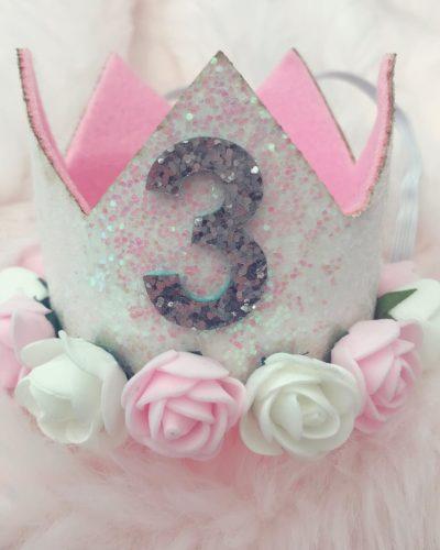 Itty Bitty 3rd Birthday White Flower Adorned Crown