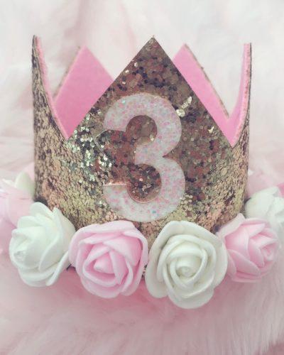 Itty Bitty 3rd Birthday Gold Flower Adorned Crown