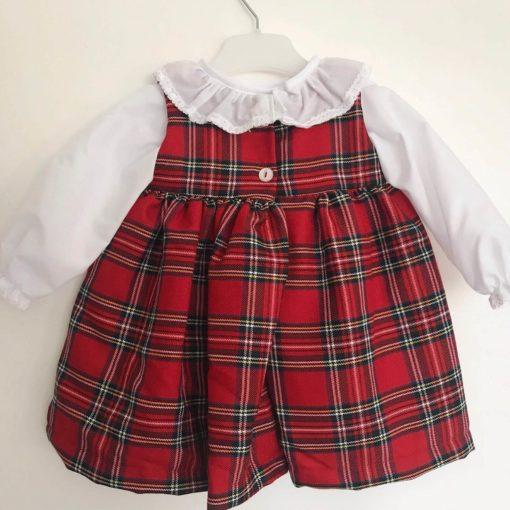 Itty Bitty Winter Check Blouse and Pinafore Dress Set