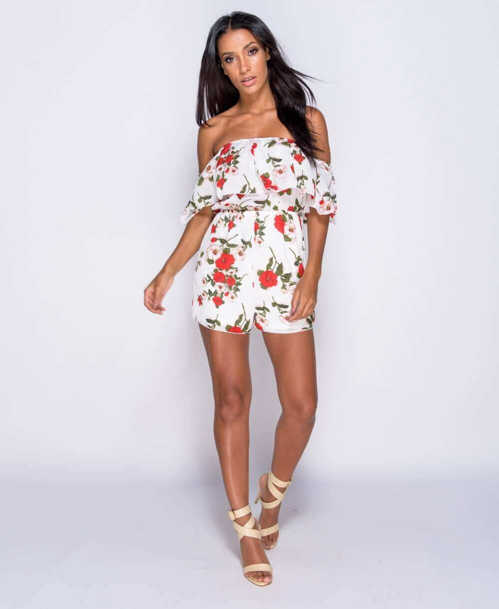 20b6929460e White Floral Print Frill Detail Bardot Playsuit – Baby Boutique Clothing