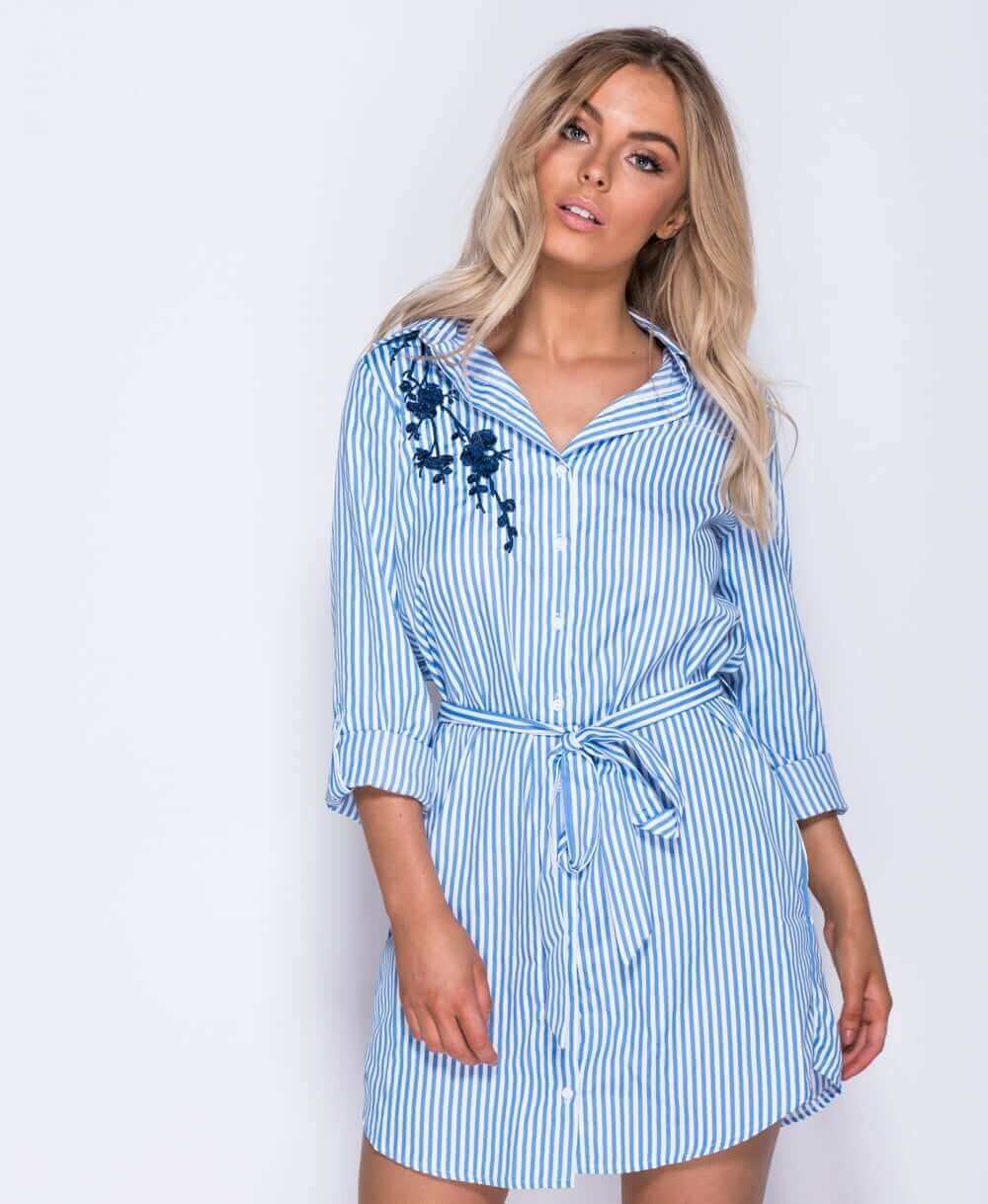 Blue white stripe embroidered detail shirt dress baby for Blue striped dress shirt