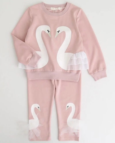 Itty Bitty Pink Swan Tracksuit