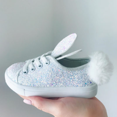 Itty Bitty White Glitter Bunny Trainers