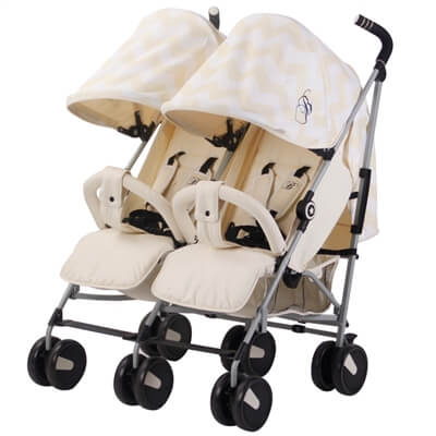 My Babiie Billie Faiers MB22 Cream Chevron Twins Stroller Pushchair Buggy