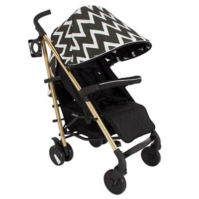 My Babiie Mb51 Black And Gold Chevron Stroller Pushchair