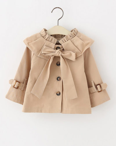 Itty Bitty Tan Bow Autumn Trench Coat