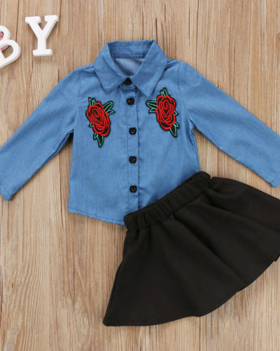 Itty Bitty Embroidery Denim Shirt and Skirt Tutu Dress Set