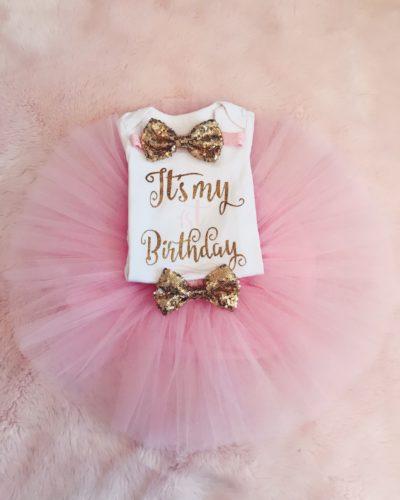 Itty Bitty 1st Birthday Baby Pink Tutu Set