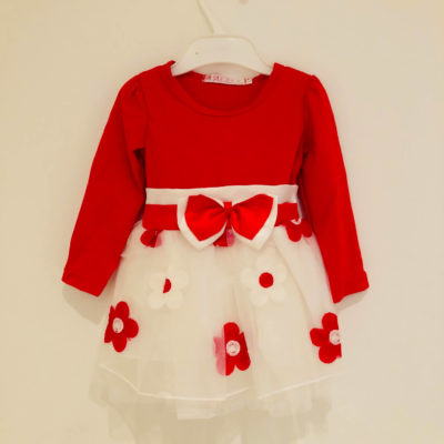 Itty Bitty Red Little Flower Bow Tutu Dress