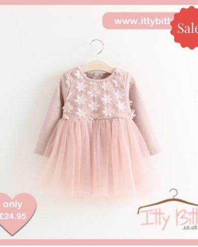 Itty Bitty Autumn Pink Bow Flower Dress
