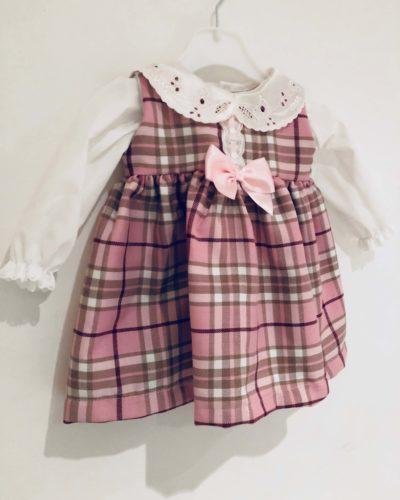 Itty Bitty Pink Winter Check Blouse and Pinafore Dress Set