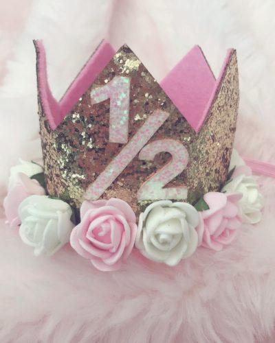 Itty Bitty 1/2 Birthday Gold Flower Adorned Crown