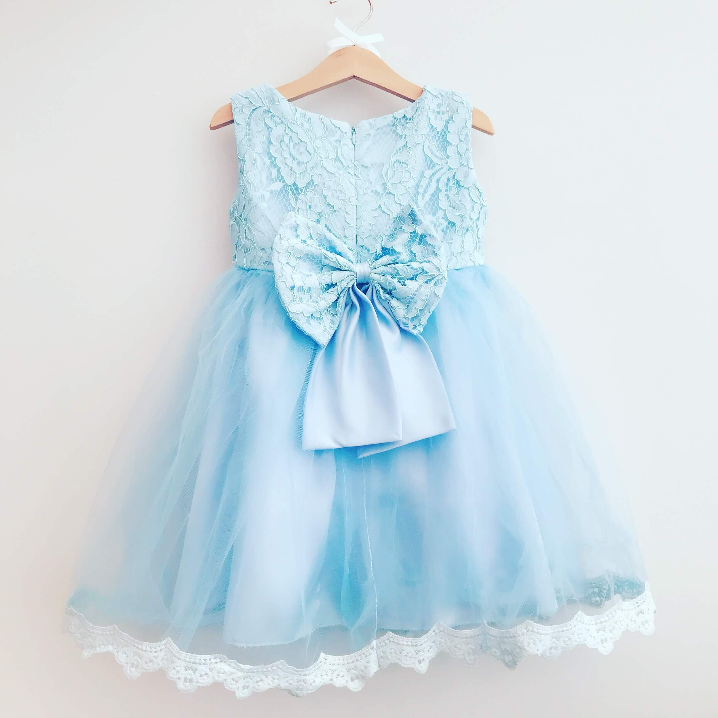 Blue Princess Bow Dress Baby Boutique Clothing