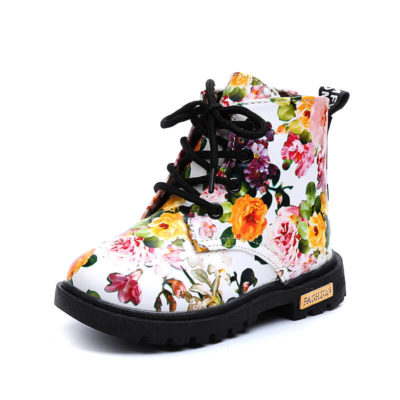 Itty Bitty Limited Edition White Floral Fashion Print Girls Boots
