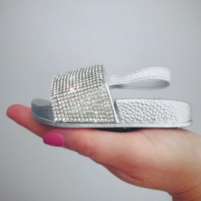 Bitty Silver Sparkle Sandals Sliders