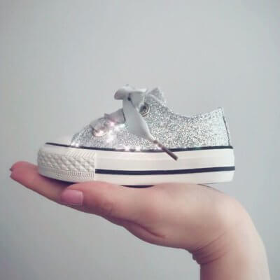 Itty Bitty Silver Sparkle Trainers