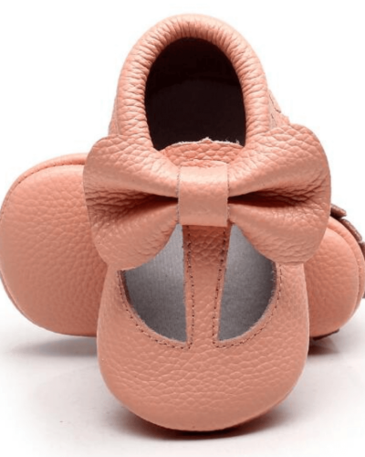 Itty Bitty Pink Bow Spring T-bar Moccasins