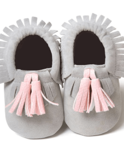 Itty Bitty Grey With Pink Tassel Moccasins