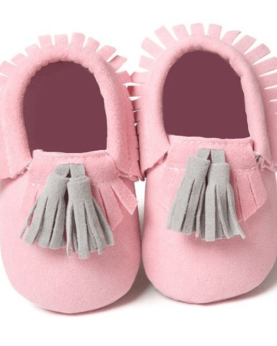 Itty Bitty Pink With Grey Tassel Moccasins