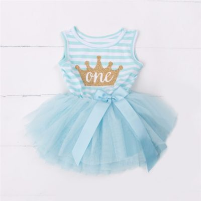 Itty Bitty Aqua & White 1st Birthday Crown Tutu Sleeveless Dress