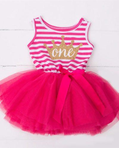 Itty Bitty Dark Pink & White 1st Birthday Crown Tutu Sleeveless Summer Dress