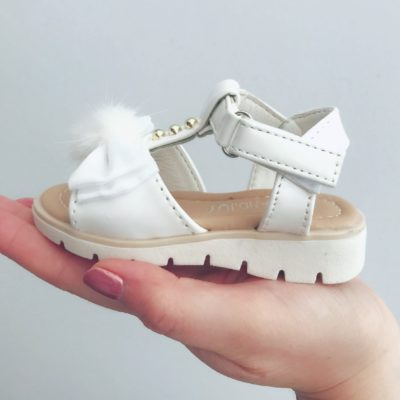 Itty Bitty White Bow Pom Pom Sandals