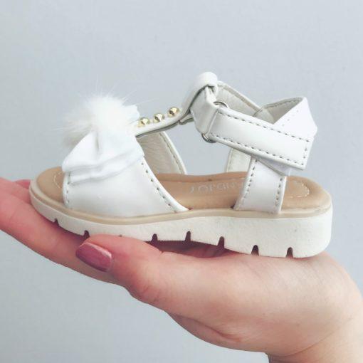 Itty Bitty White Bow Pom Pom Sandals
