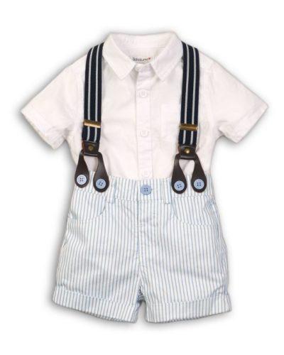 Itty Bitty Baby Boys Two Piece Poplin Shirt & Stripe Set