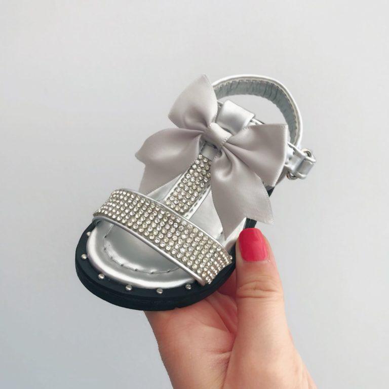 Itty Bitty Silver Diamante T Bar Bow Sandals