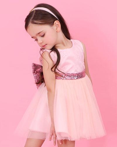 Girls Boutique Princess Pink Bow Dress