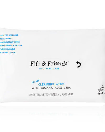 Fifi & Friends 100% Organic Travel Cleansing Wipes with Organic Aloe Vera - 32 Wipes